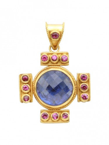 Steven Battelle Tanzanite and Ruby Cross Pendant Necklace