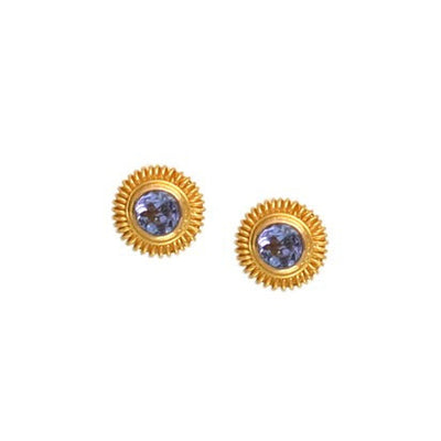 Steven Battelle Tanzanite Round Post Earrings