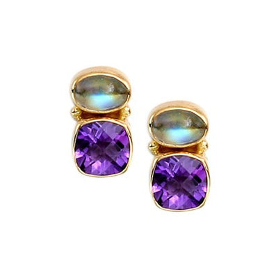 Steven Battelle Cushion Amethyst Earrings
