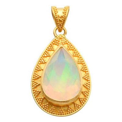 Steven Battelle Beaded Opal Pendant Necklace