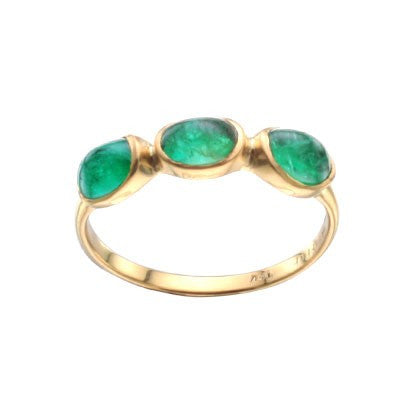 Steven Battelle Three Stone Emerald Ring