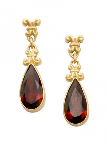 Steven Battelle Dangle Garnet Earrings