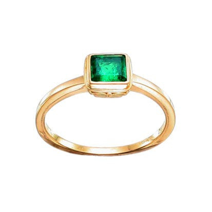 Steven Battelle Simple Bezel Emerald Ring