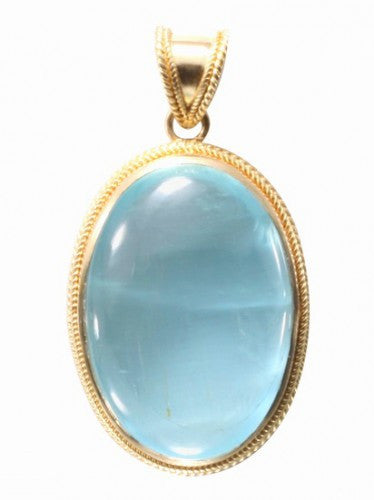 Steven Battelle Bezel Aquamarine Pendant Necklace