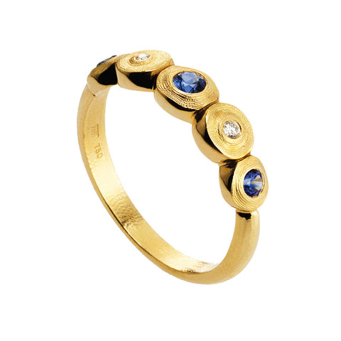 Alex Sepkus Lilly Pad Diamond and Sapphire Ring - R-210S