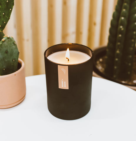 Desert + Agave soy candle in a black vessel