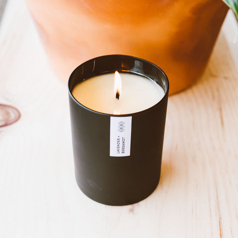 Lavender + Bergamot soy candle in a black vessel