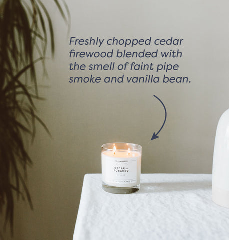 images of cedar and tobacco candle