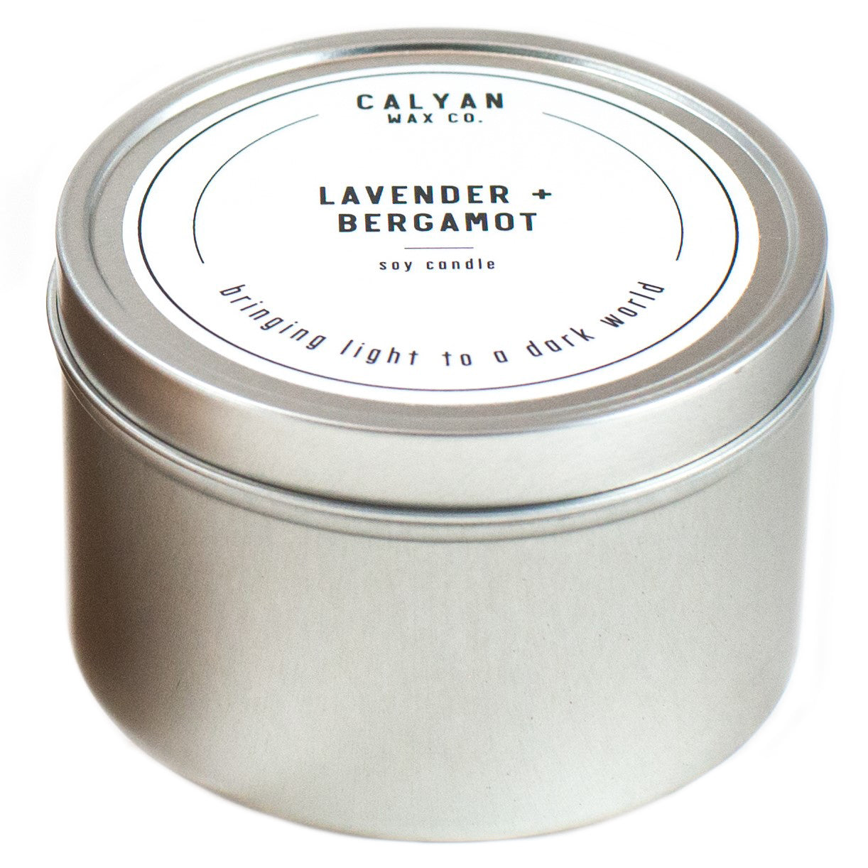 Natural soy candle in a metal tin - Calyan Wax Co.
