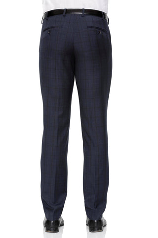 Cambridge Suit Pants In Self Check Dark Navy Classic Fit