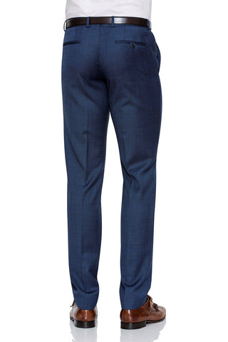 Joe Black Suit Pants In Blue Subtle Check