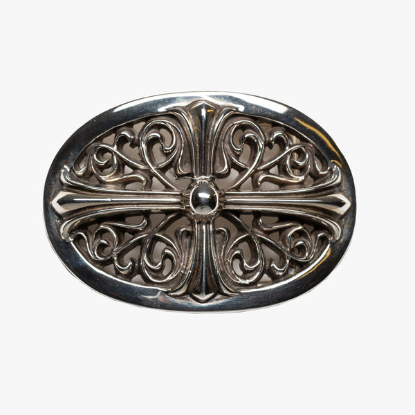 Floral Cross Oval Belt Buckle