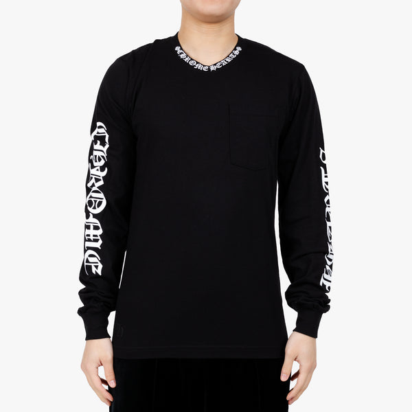 Collar Script Long Sleeve T-Shirt
