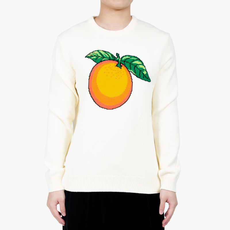 Orange Intarsia Knit Sweater