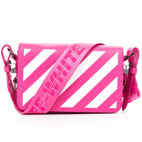 Diagonal Fuchsia Mini Flap Bag