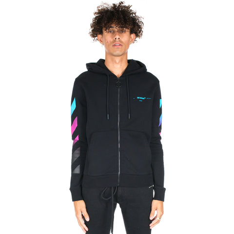 Diagonal Gradient Zip Hoody