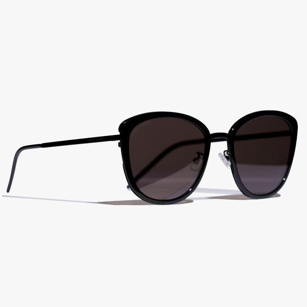Ladies Black Round Slim Sunglasses