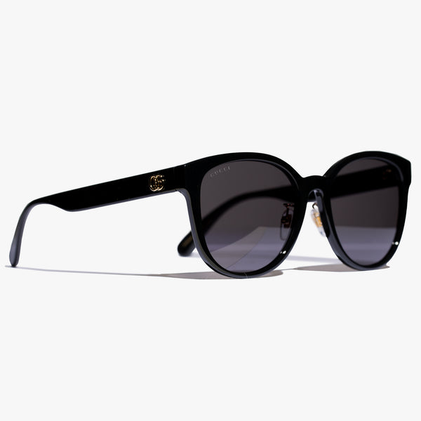Ladies Black GG Round Injection Sunglasses