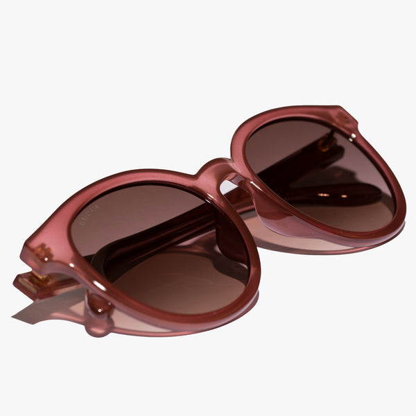 Ladies Pink Round Injection Sunglasses