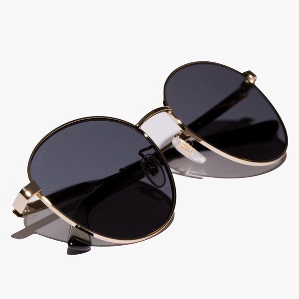 Ladies Gold Round Metal Sunglasses