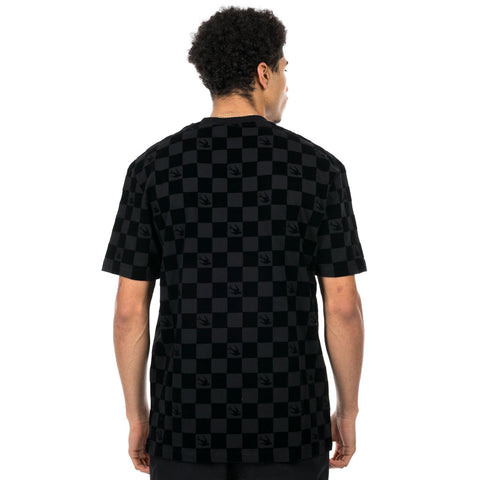 Flocked Checkered Swallow T-Shirt