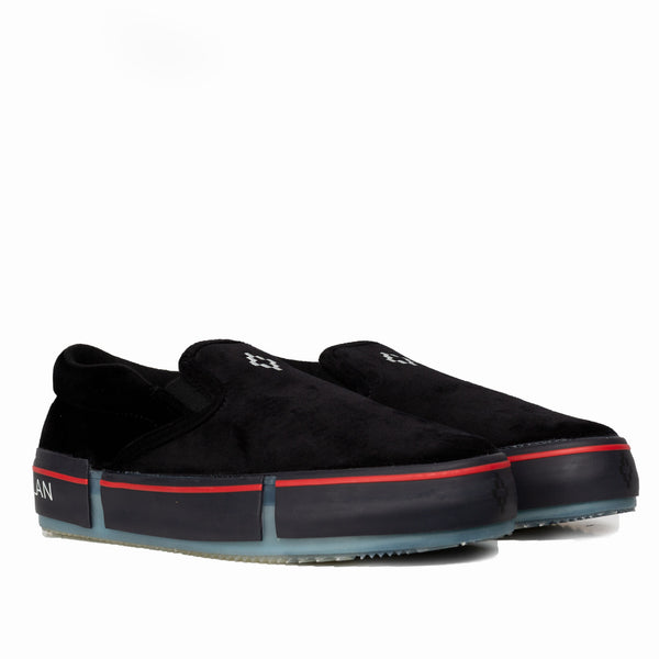 Cross Velvet Slip-Ons