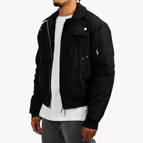 Quilted Intervein Bomber Jacket