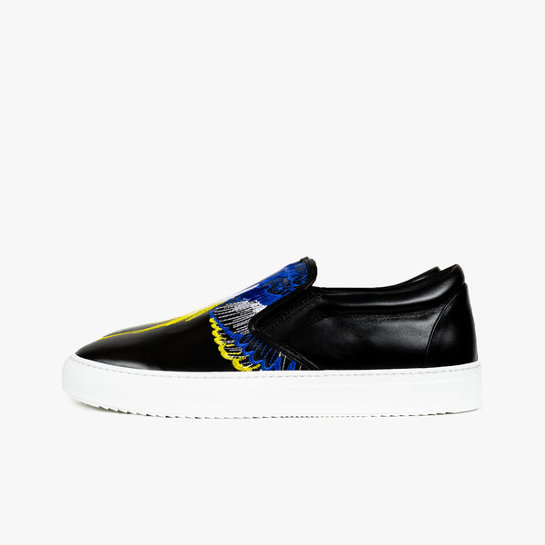 Embroidered Wings Leather Slip-Ons