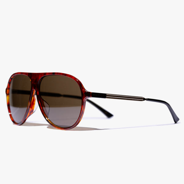 Mens Havana Aviator Frame Sunglasses