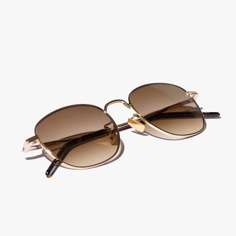 Unisex Gold Metal Frame Sunglasses