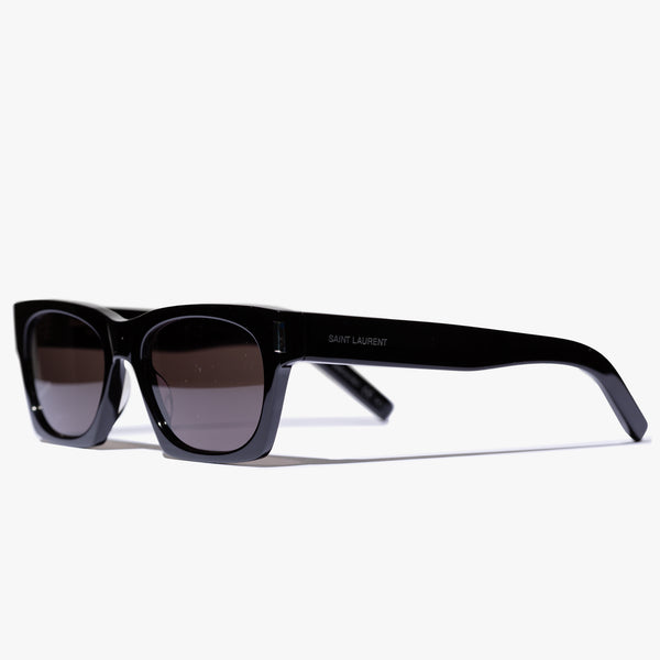 Unisex Black Acetate Rectangle Sunglasses
