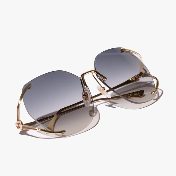 Ladies Gold Round Frame Sunglasses
