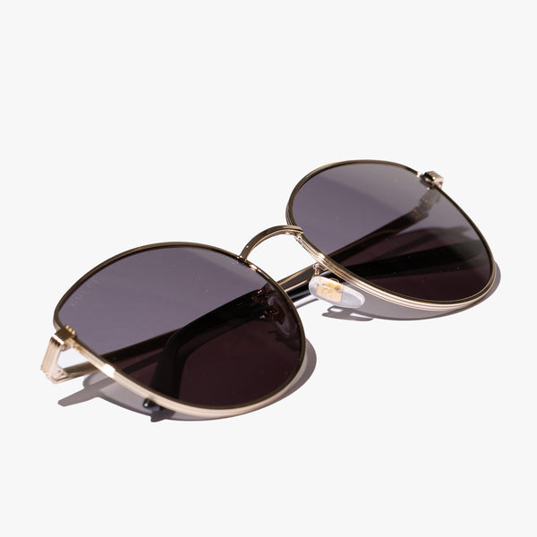 Ladies Gold Metal Cat Eye Sunglasses