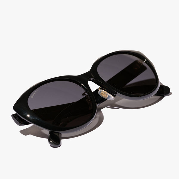 Ladies Black Oval Sunglasses