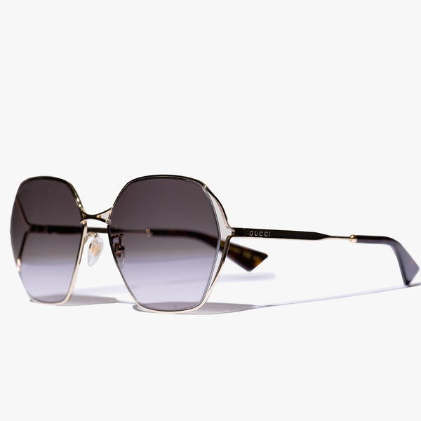Ladies Gold Square Frame Sunglasses