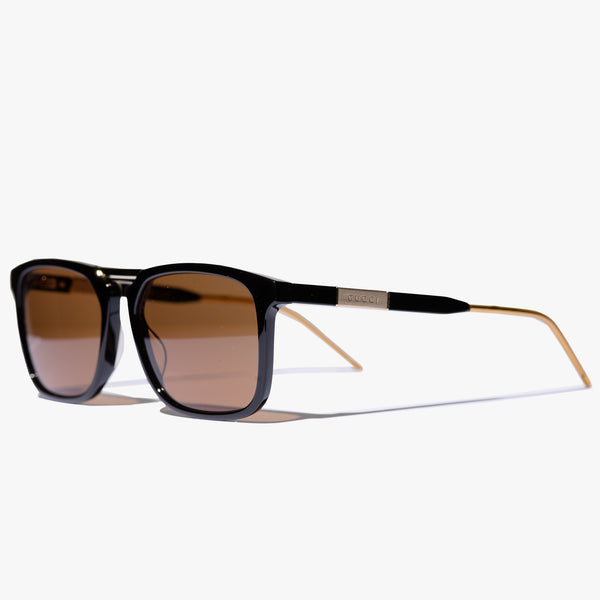 Mens Black Gold Square Frame Sunglasses
