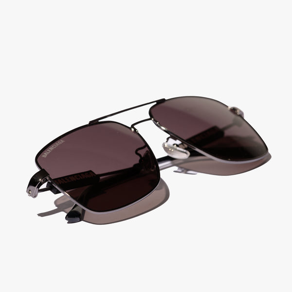 Mens Black Logo Square Sunglasses