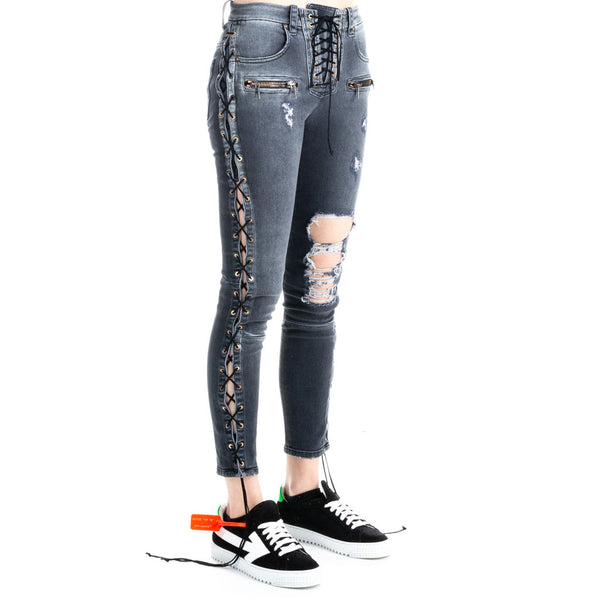 Side Lace Up Denim Jeans