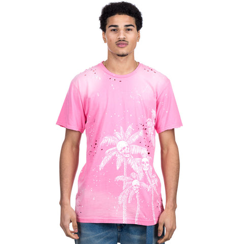 Skull Palms Paint Splatter T-Shirt