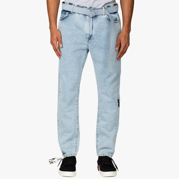 Slim Low Crotch Bleach Jeans