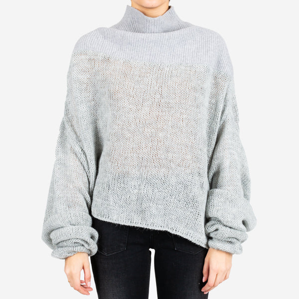 Mesh Hybrid Turtleneck Sweater