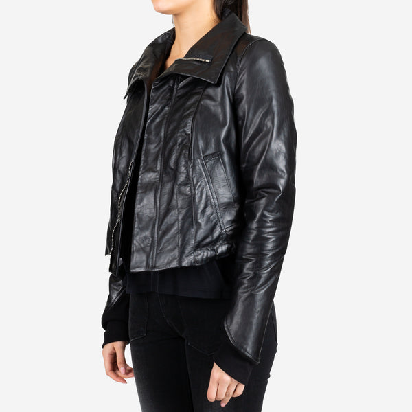 Slim Leather Bomber Jacket
