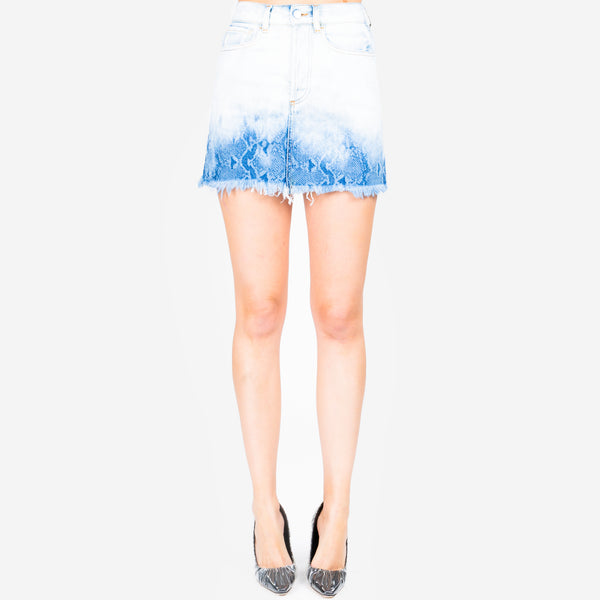 Snake Gradient Denim Skirt