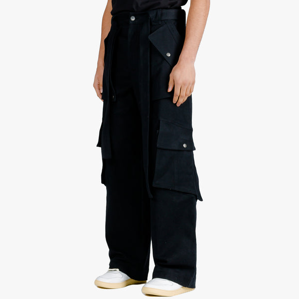 Waxed Oversized Cargo Pants