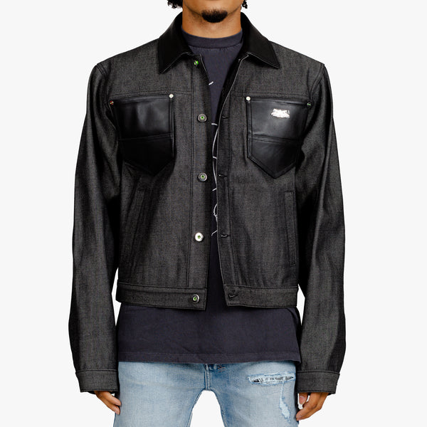 Leather Trim Denim Jacket