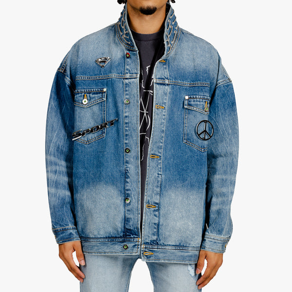 Metal Badge Denim Jacket