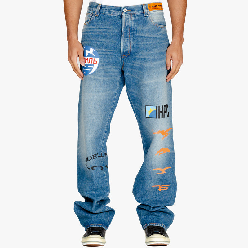 Heron Printed 5 Pocket Jeans