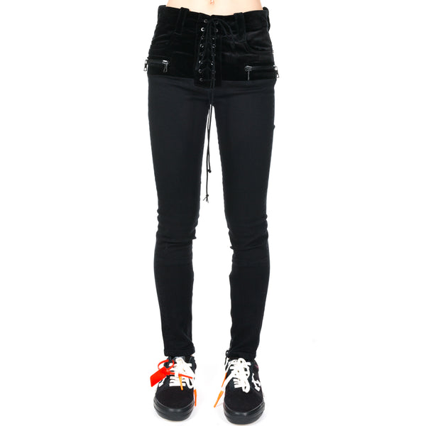 Stone Denim Velvet Lace Up Jeans