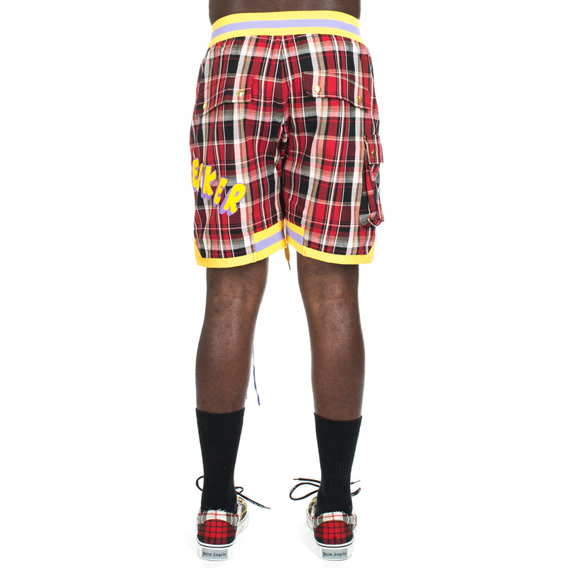Red Check Patch Shorts