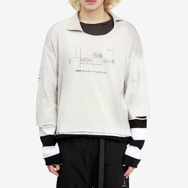 Panelled Distressed Layered LS Tee
